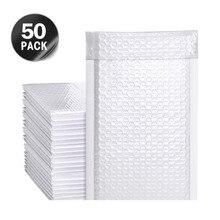50 шт. Белый перламутровый пленка поли почтовая программа пузырь водонепроницаемый ударопрочный мягкий конверты для подарка упаковка подкладка самоклеющаяся печать сумка