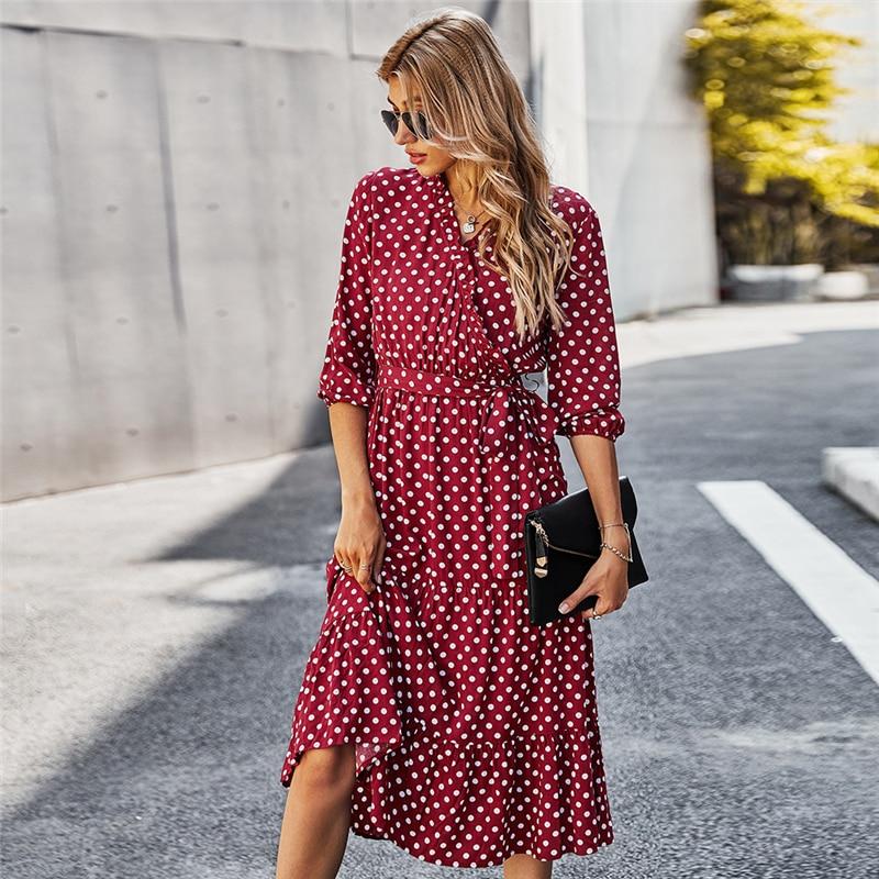 Autunno inverno Dot Bandage Dress donna Casual increspature scollo a V vita alta Slim stampa abito lungo per donna 2020 nuova moda