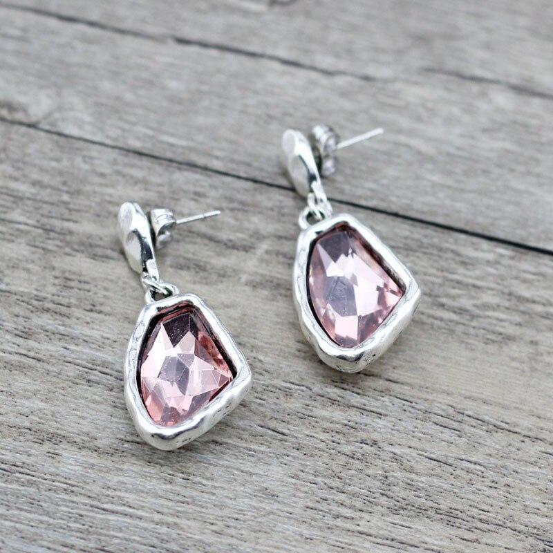 Anslow Fashion Perhiasan Retro Pesona Wanita WANITA Drop Tidak Teratur Crystal Anting-Anting Asli Desain Anting-Anting Untuk Pernikahan LOW0148AE