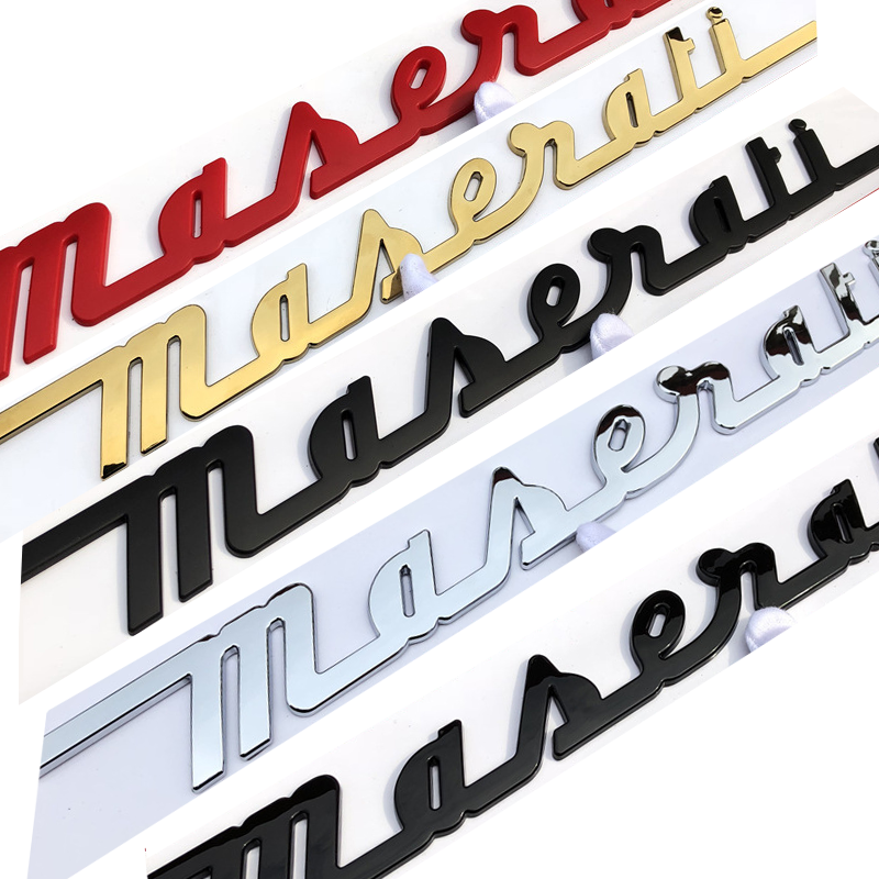 Handwriting Matte gloss Black  Red Gold Chrome For Maserati Trunk Nameplate Logo Emblem Badges Ghibli OEM Stickers badge Car