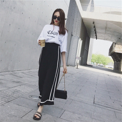 Two-Piece Women's Summer 2018 New Style Korean-style Fashion Casual Sports Clothing Junior High School Students Loose-Fit Slimmi