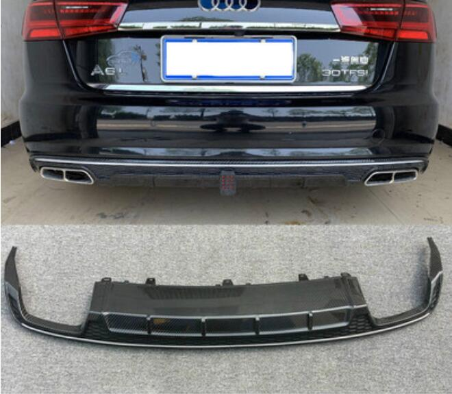 A6 S6 Real Carbon Fiber Car Rear Bumper Lip Spoiler Diffuser Rear Lip With Exhaust Tips For Audi A6 S6 C7.5 2016 2017 2018 image