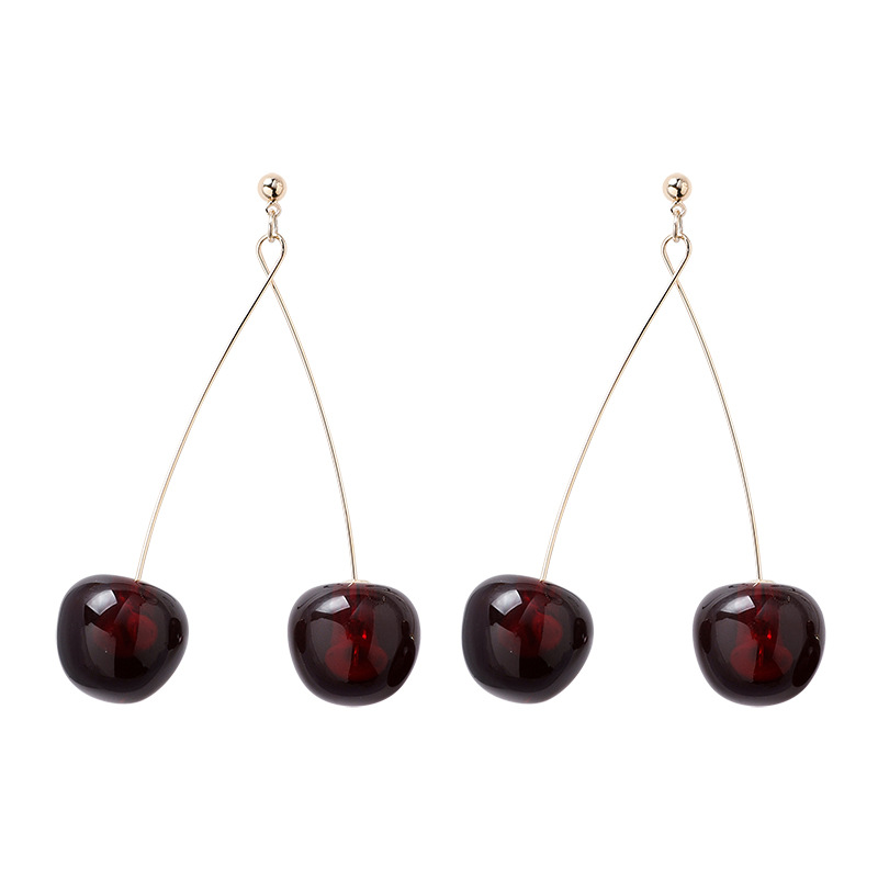 H0daf914b8b2a4f60b7fb513f6458a3fbr - AOMU S925 Sterling Silver Pin Autumn Winter New Wine Red Cherry Cute Fruit Long Drop Earrings For Women Vintage Pendientes Gifts