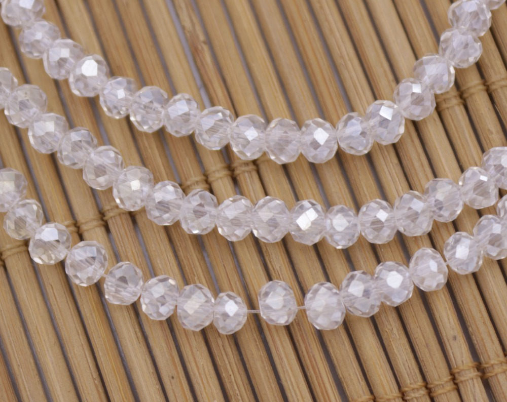 Купить с кэшбэком 150PCS / Strand 4mm Faceted Rondelle AB Clear Czech glass Crystal Loose Beads