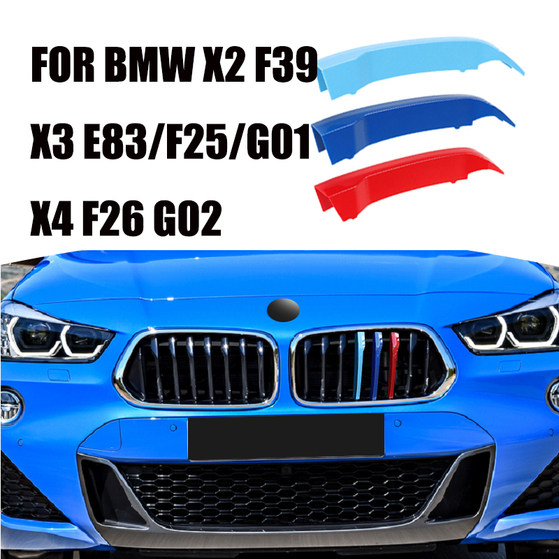 3D 3PCS FOR BMW X3 E85 F25 G01 X4 F26 G02 X2 F39 2007-2020 Car Front Bumper Racing Grills Clip M Sport Performance Car Covers