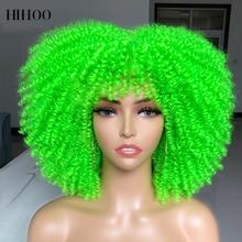 Парик афро кудрявый с короткими волосами и челкой для чернокожих женщин Косплей Лолита Омбре синтетический натуральный блонд парик зелены...