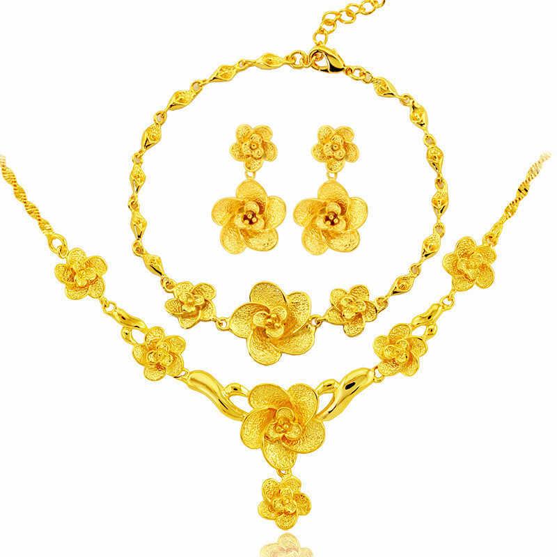 Dubai Schmuck Sets Vintage Blume Halskette Ohrring Armband Weibliche Braut Heiratete Frau Schwester Geschenk Mode Afrikanische Schmuck
