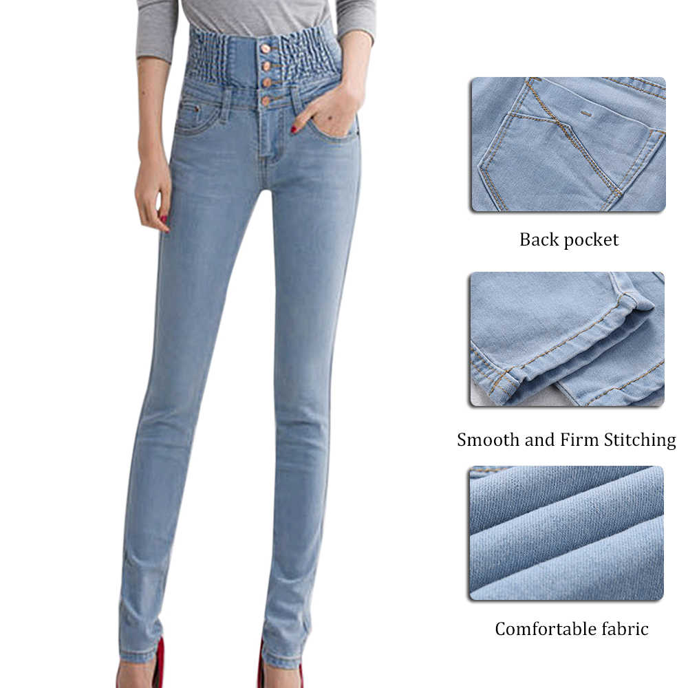 Womens Winter Warm Jeans Casual High Waist Skinny Fleece Lined Pencil Pants Elastic Waist Button Trousers Plus Size Female Jeans