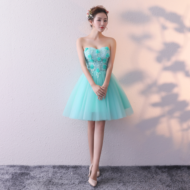 Mint Green Yellow Cocktail Dress A Line Sweetheart Lace Appliqued Short Mini Prom Gowns Formal Party Dresses Homecoming Dress