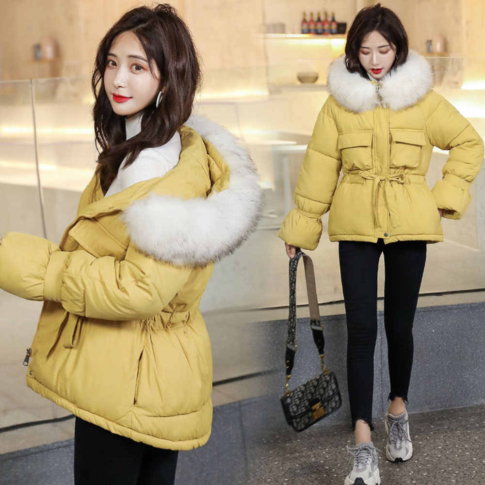Vielleicht 2019 Nieuwe Koreaanse Fur Hooded Jassen Parka Winter Jas Vrouwen Korte Stijl Tie Up Warm Dikke Slim Winter Jas vrouwelijke