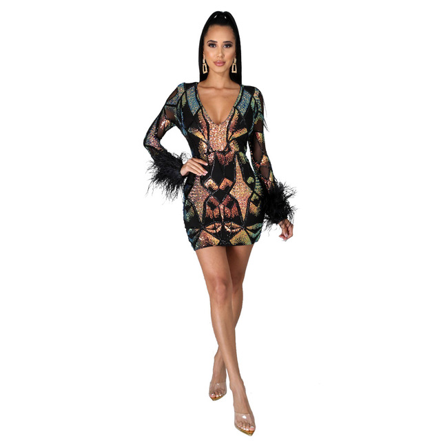 2020 Autumn And Winter Sexy Colorful Sequins Deep V Dress Party Dance Nightclub Color Shiny Perspective Tight Dress With Feathe 4