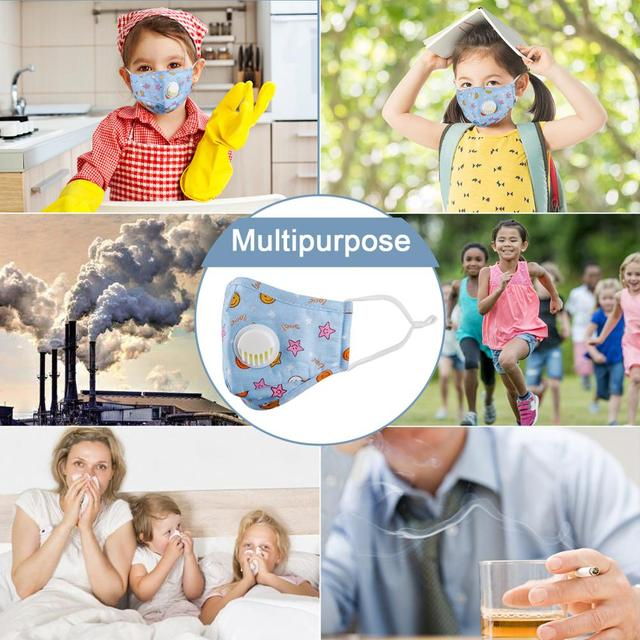 Kids Cotton Mouth Face Mask With 10pcs PM2.5 Breathing Valve dust-proof Mask Respirator Adjustable Children Mask 5