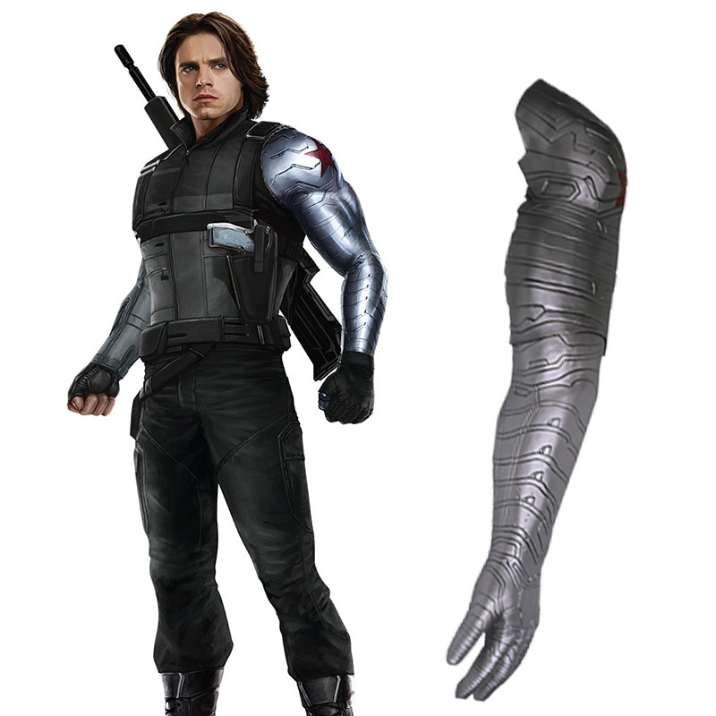 Avengers Arm Captain America Bucky Barnes Winter Soldier White Wolf Armour Cosplay Avengers High Level Latex Man Halloween Gift