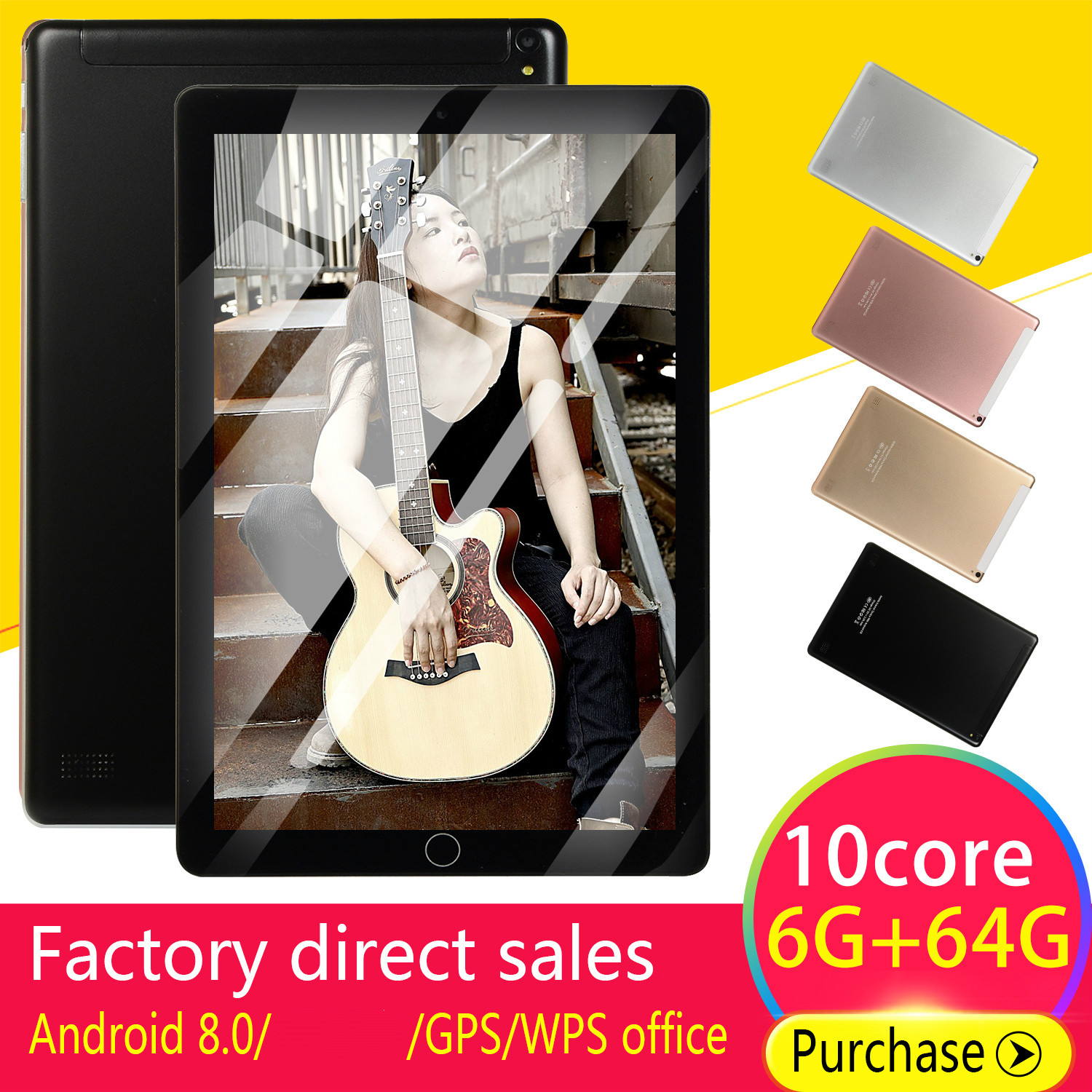 2020 5000mAh 10 'Android Tablets8.0 Quad Core 4GB RAM Internal 64G Camera 5MP Tablet With A Sim Card PC WiFi GPS Bluetooth