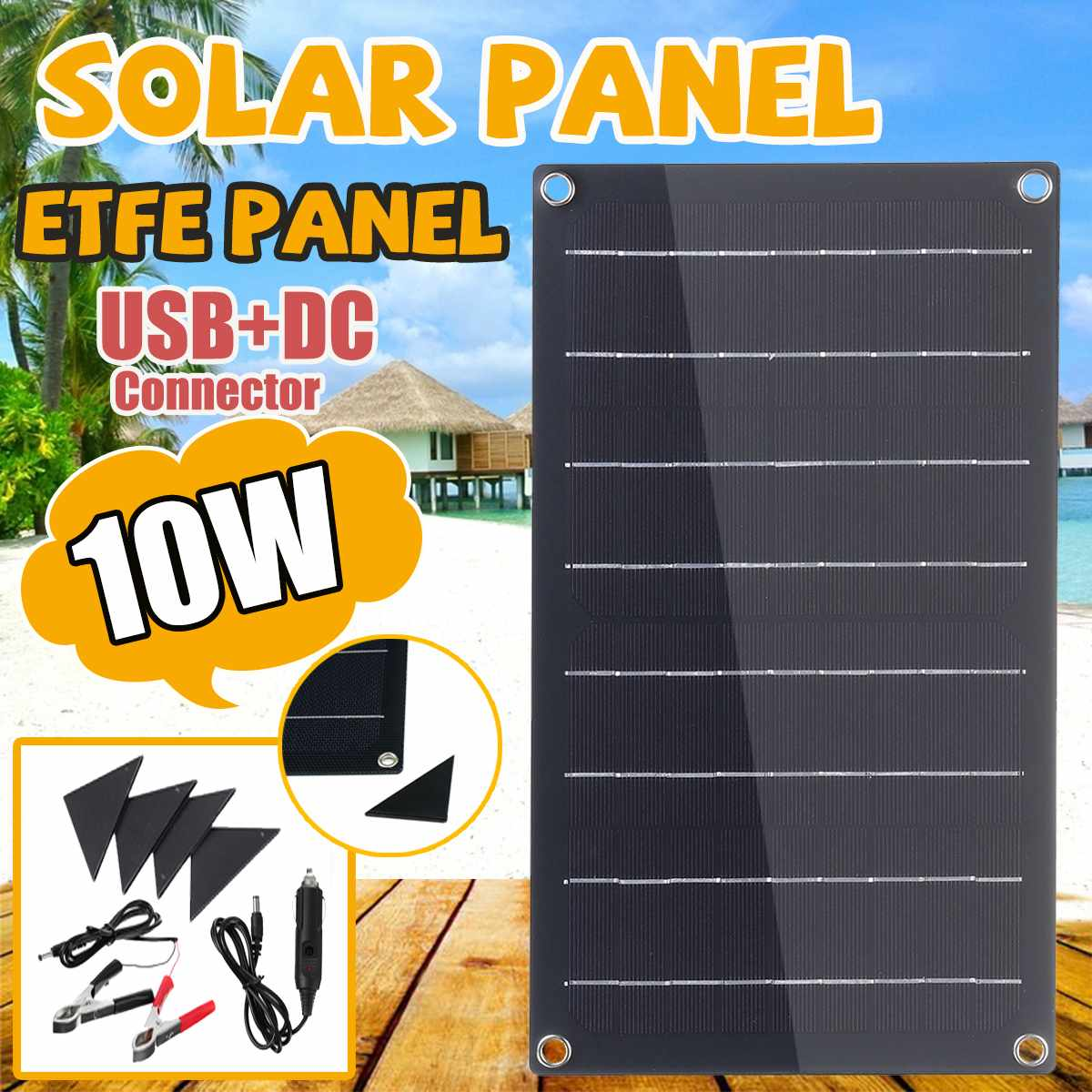 10W ETFE Solar Panel Semi-flexible Monocrystalline Solar Cell DIY Module With 4 Protective Corners Single USB+DC Battery Charger image
