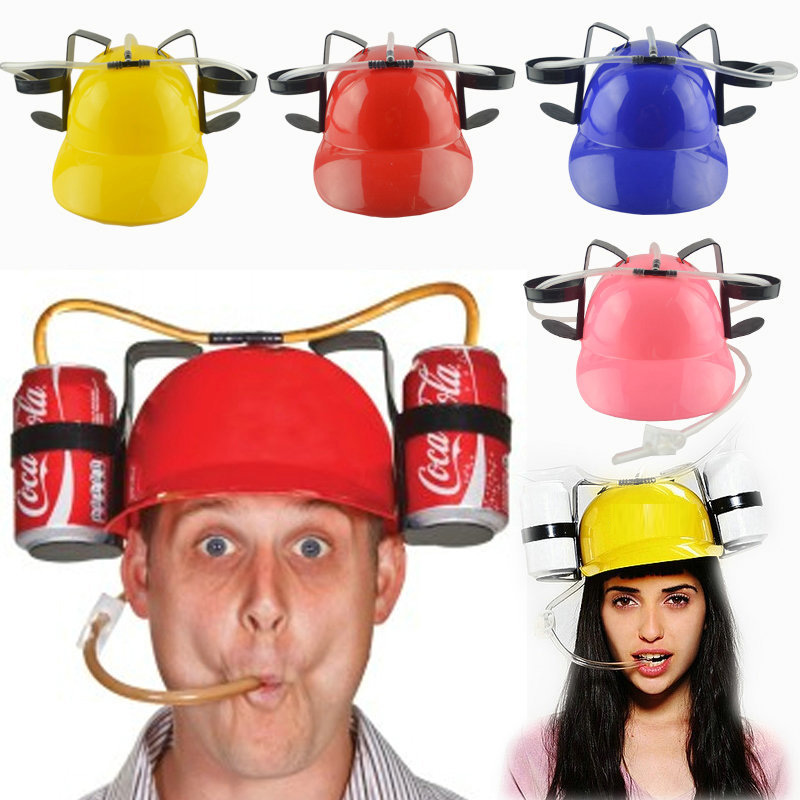 Lazy Lounge Beer & Soda Guzzler Helmet & Drinking Hat Birthday Party Cool Unique Toy Handsfree Drink Toy Miner Hat