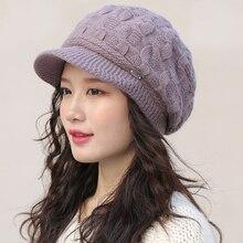 HT2603 осенне-зимняя шапка женская Толстая теплая шапка из кроличьего меха Женская флисовая подкладка восьмиугольная кепка газетчика женская вязаная шапка женские береты