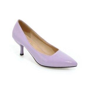 Image 5 - ZawsThia 하이힐 여성 펌프 얇은 뒤꿈치 클래식 노란색 보라색 섹시한 숙녀 사무실 경력 신발 여자 드레스 신발 stilettos