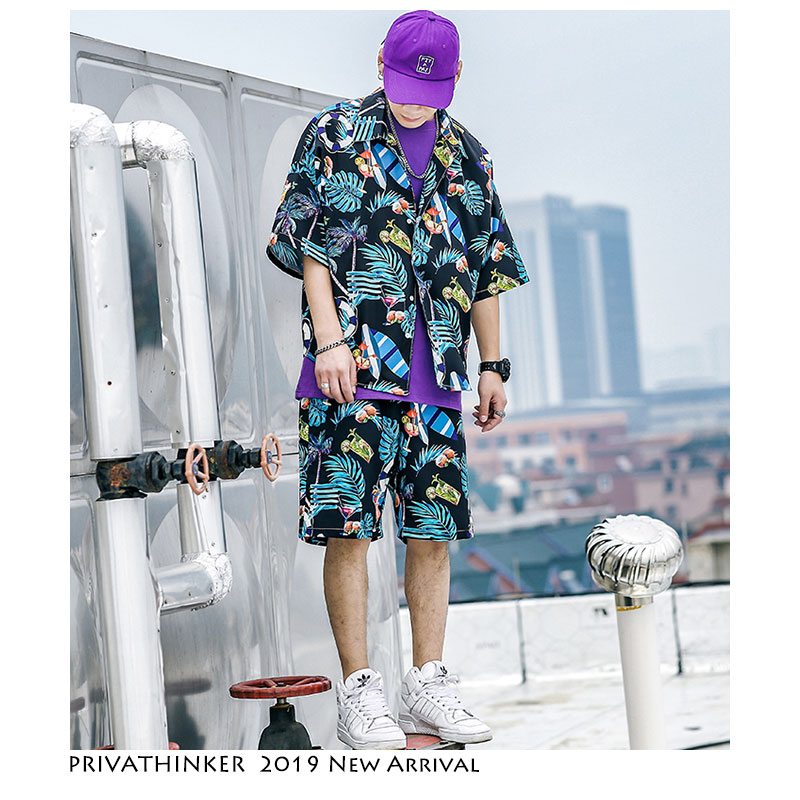 Privathonker Men's Short Sleeve Shirts Shorts Summer Boho Style Man Beach Suits Harejuku Streetwear Male Clothes