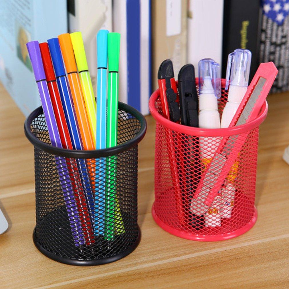 Iron Square Round Pen Holder Cosmetics Makeup Tool Brushes Storage Box Organizer Grid Pen Holder Office Desktop Stationery Black