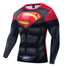 Superman Spiderman Iron man Captain America T Shirt 3D Printed T-shirts Men Avenger Fitness Men's sportswear Tights Long sleeve