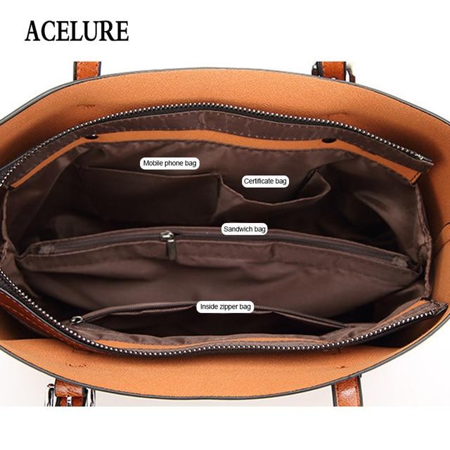 ACELURE Women bag Oil wax Women's Leather Handbags Luxury Lady Hand Bags With Purse Pocket Women messenger bag Big Tote Sac Bols 6
