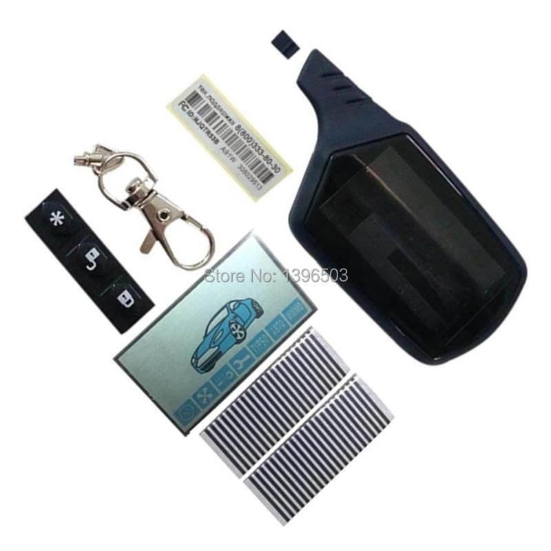A91 Case Keychain + A91 LCD Display Zebra Paper For Russian Car Alarm 2 Way LCD Remote Control Keychain Fob Twage Starline A91