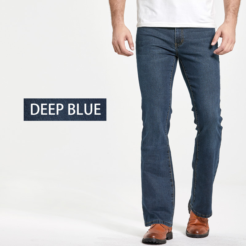 Men's Boot Cut Jeans Slightly Flared Slim Fit Famous Brand Blue Black jeans Designer Classic Male Stretch Denim jeans 2