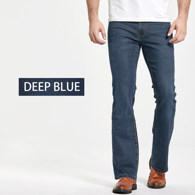 Men's Boot Cut Jeans Slightly Flared Slim Fit Famous Brand Blue Black jeans Designer Classic Male Stretch Denim jeans 2