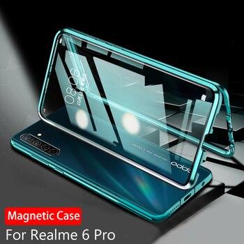 Перейти на Алиэкспресс и купить Магнитный поглощающий чехол для OPPO Realme 6 Pro, чехол, прозрачный чехол из закаленного стекла для Realme 6s 6i Narzo 10A 10, чехол, 360, оболочка