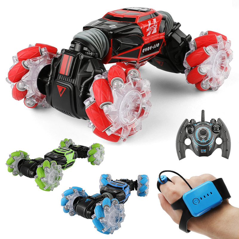 1:16 4WD RC Stunt Car Watch Gesture Control Deformable Electric RC Car With LED Light Transformer Vehicles Toy For Kid Xmas Gift
