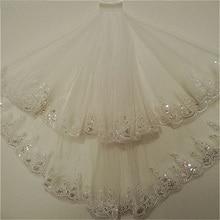 2020 Мода Два Слоя Фата Белый Слоновая Кость Тюль Свадебное С Расческой Кружева Края Фата Аксессуары В Наличии