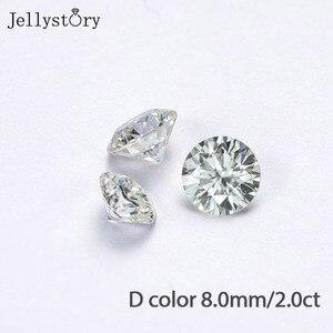 Jerrystory 2.0ct D couleur Moissanites 8.0mm brillant VVS1 Grade excellente coupe pierre en vrac pour la fabrication de bijoux avec certificat