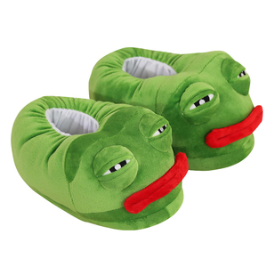 Image 2 - 1 pc very bad Sad frog slipper green frog cotton slippers frog cartoon cotton plush slippers home indoor green shoes