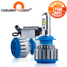 CNSUNNYLIGHT Voiture Phare H7 H4 LED H8/H11 HB3/9005 HB4/9006 H1 H3 9012 H13 9004 9007 70W 7000lm Auto Ampoule Phare 6000K Lumière