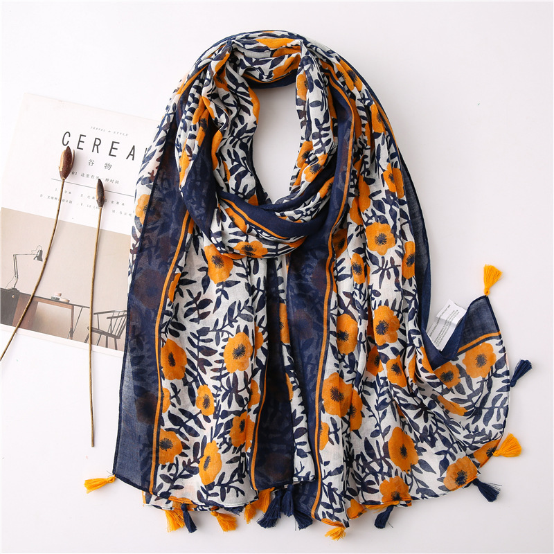 2020 New Fashion Summer Women Cotton Scarf Bohemia Flower Beach Hijab Shawls And Wraps Female Foulard Echarpe Designer Bandana