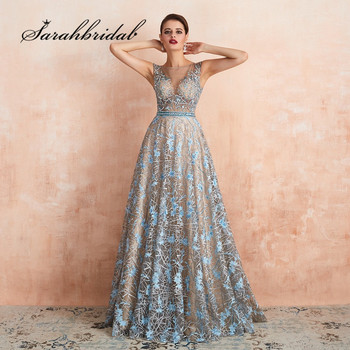 Romantic Blue Evening Dress Long Formal A Line O Neck Illusion Beads Embroidery Dubai Handmade Prom Party Gown Vestidos SQS67360 - discount item  35% OFF Special Occasion Dresses