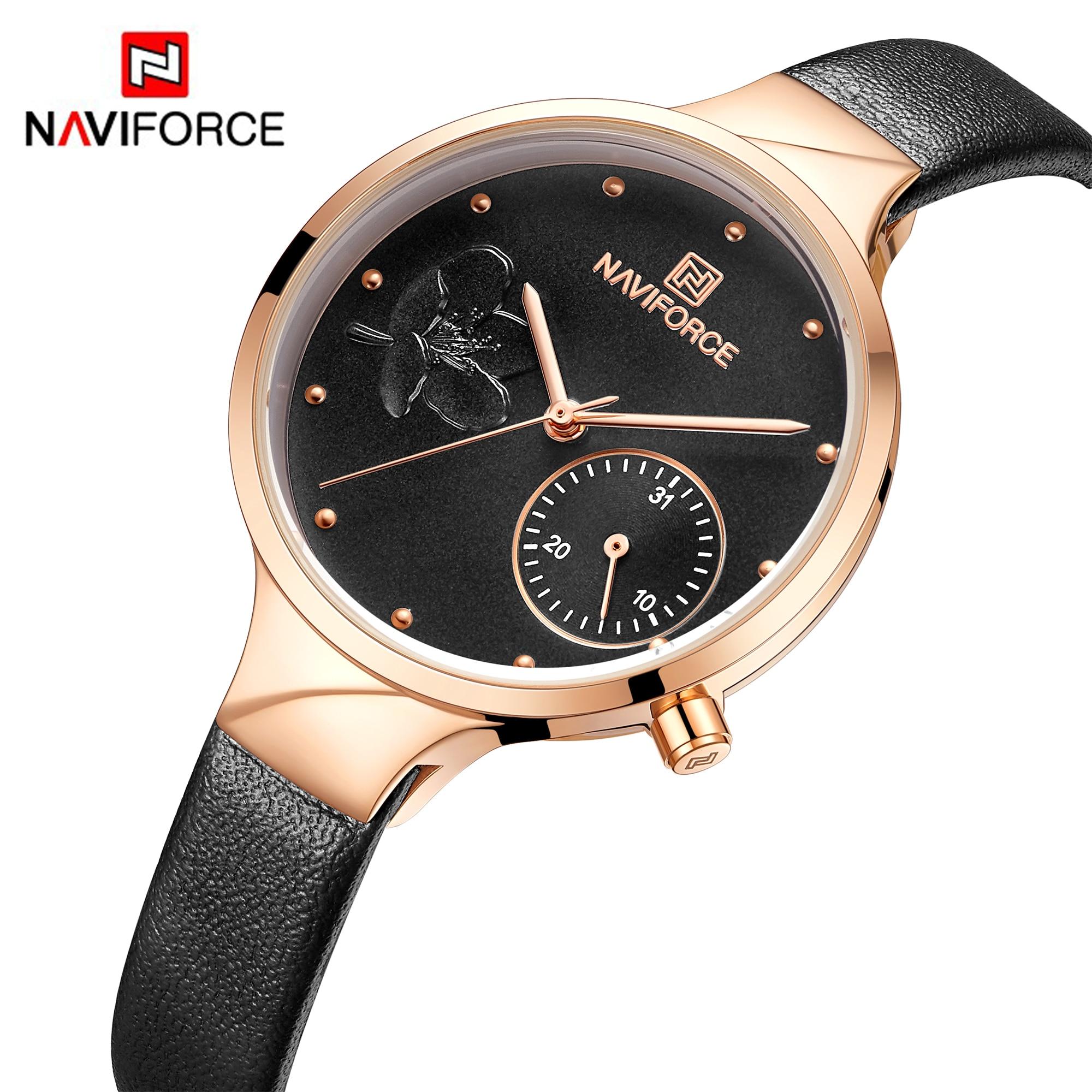 NAVIFORCE Women Watches Luxury Brand Fashion Quartz Ladies Rhinestone Watch Dress Waterproof Watch Simple Clock Relogio FemininoWomens Watches   -