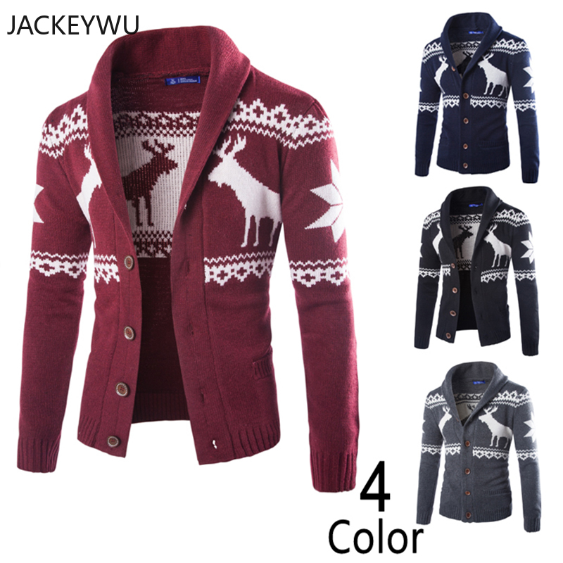 Christmas Sweater Men Fashion Lapel Long Sleeve Cardigan Men Casual Knitted Sweaters Thick Coats Pull Homme Hip Hop Streetwear