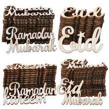 15Pcs Eid Mubarak Houten Craft Ornament Ramadan Hout Plakjes Voor Islam Moslim Festival Event Party Decor Confetti Scatter
