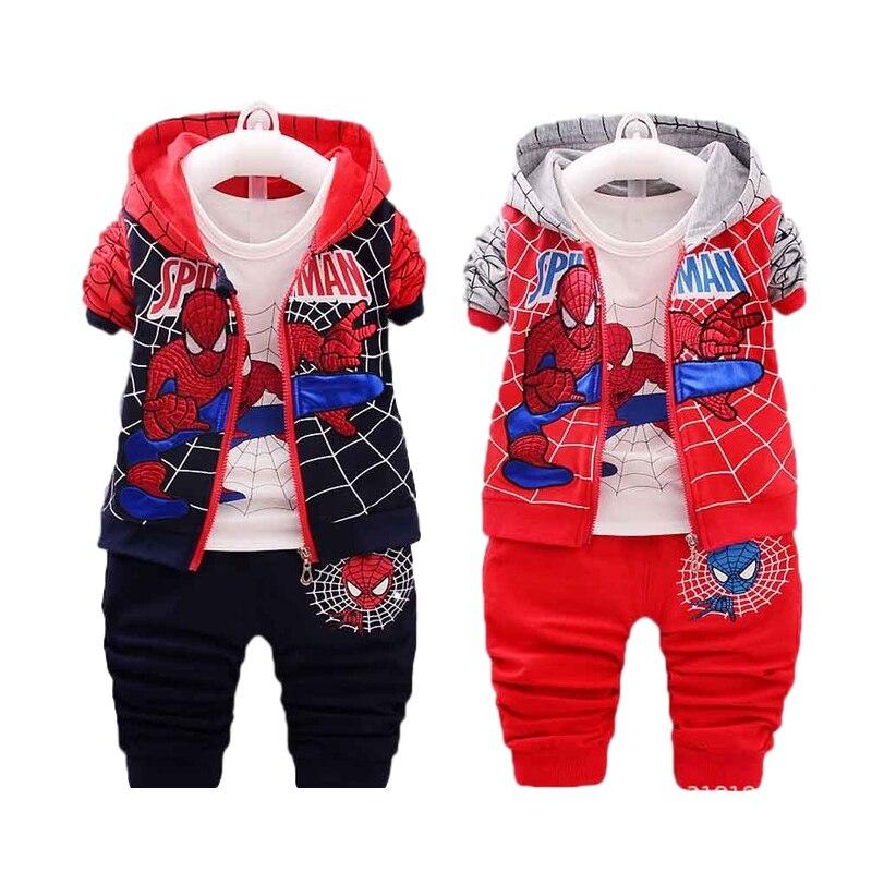 2020 Fashion Baby Boy Spider-Man Sportswear Baby Jacket + T-Shirt + Pants 3-Piece Baby Boy Clothes Autumn Casual Spider-Man Set