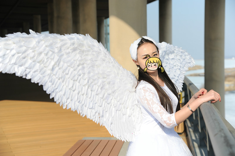 Criativo anjo pena asa adereços adulto modelo