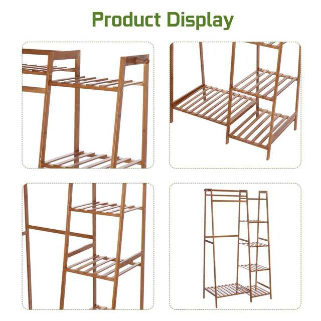 Bamboo Clothes Coat Rack w/ Storage  6