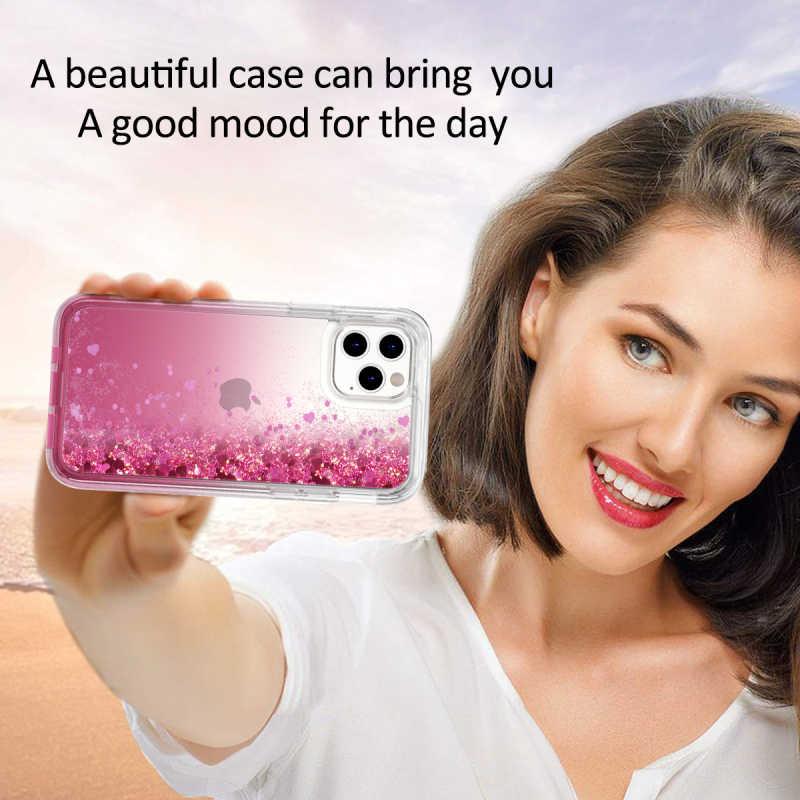 หัวใจรักGlitter Blingเคสโทรศัพท์สำหรับiPhone 11 Pro Max XR Capa Liquid Quicksandในตัวหน้าจอป้องกันHardกันกระแทก