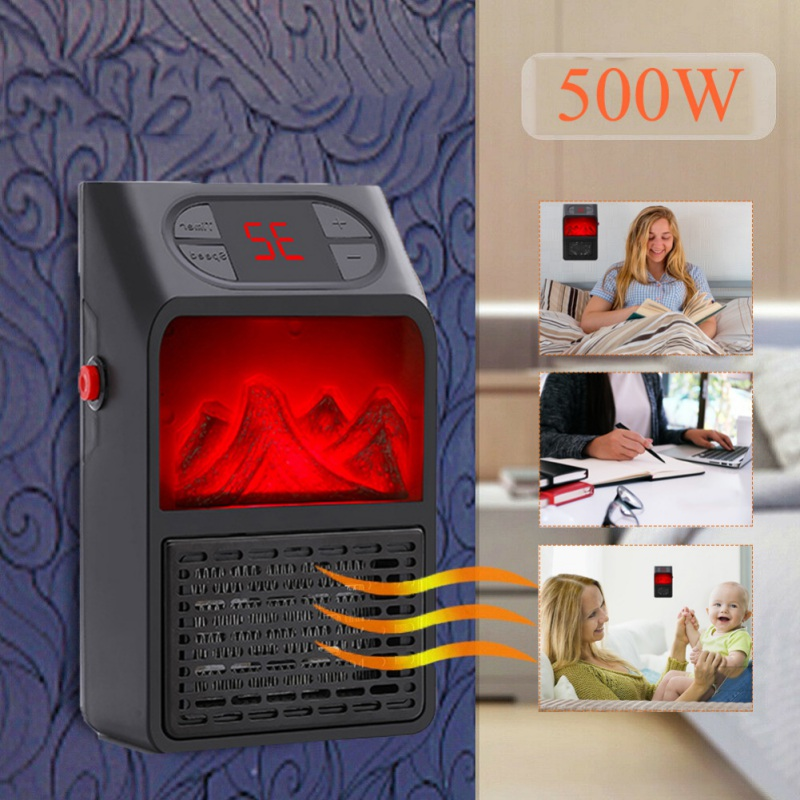 Winter Electric Wall-outlet Flame Heater US Plug-in Air Warmer PTC Ceramic Heating Stove Radiator Household Wall Handy Fan