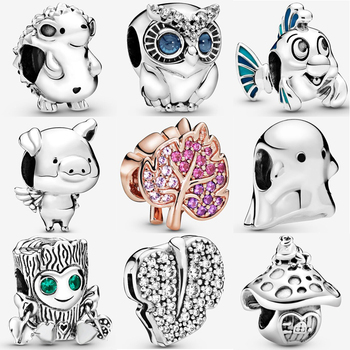 Authentic 100% 925 Sterling Silver Bead Sparkling Pave Leaf Owl Charms Pendant fit Original Pan's Bracelets Women DIY Jewelry wostu authentic 100% 925 sterling silver cute owl love story charms fit original wst bracelets diy jewelry gift cqc425