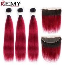 ブラジルストレートヘアバンドル前頭 13x4 kemy髪ダーク根 3 本オンブル髪織りバンドル閉鎖非レミーの髪