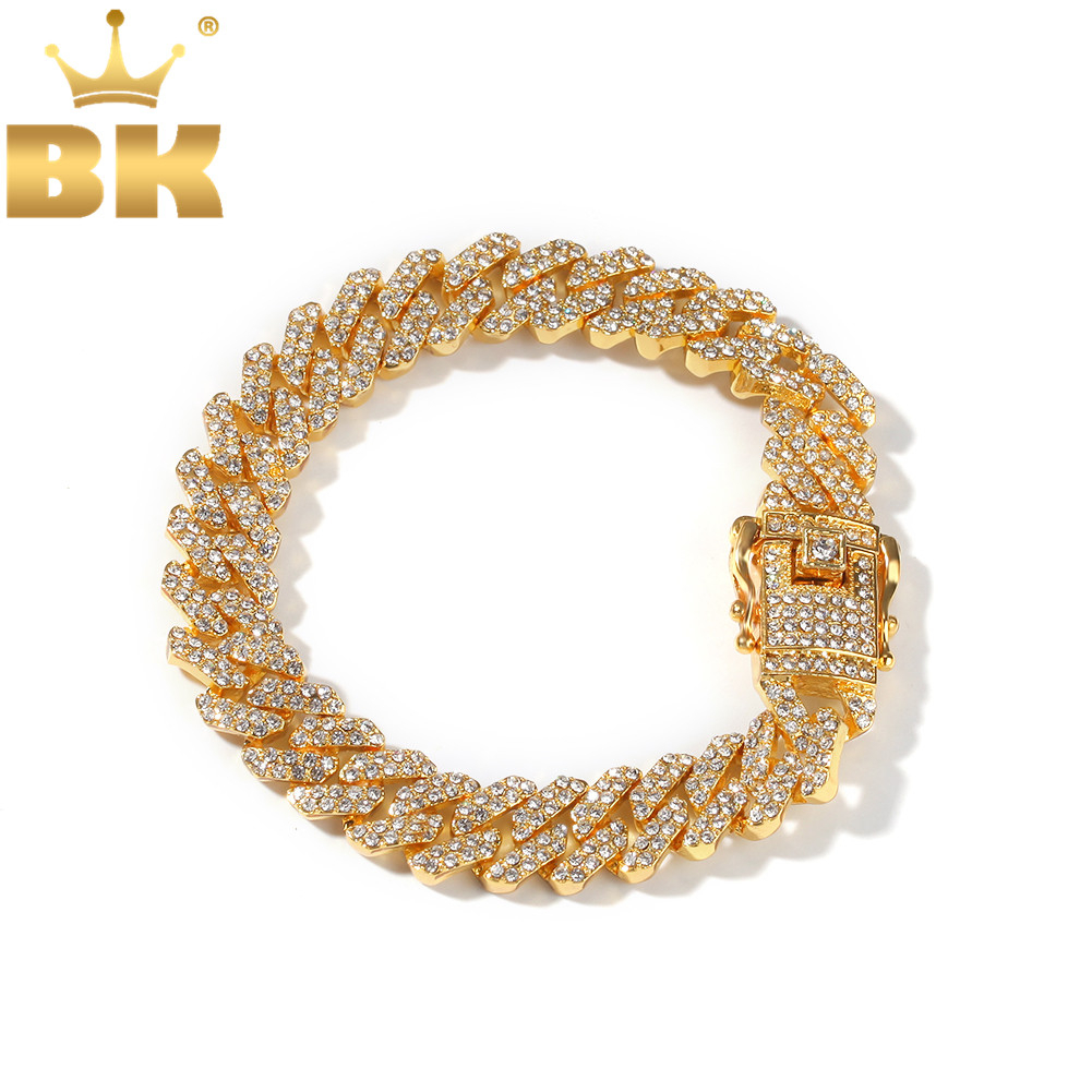THE BLING KING 12mm Bling S Link Miami Cuban Bracelets Gold Color Full Iced Rhinestones Hiphop Mens Bracelet Fashion Jewelry|Chain & Link Bracelets|   - AliExpress