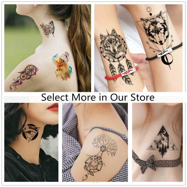 Geometry cool Temporary Tattoo Sticker Women Minimalist lines pattern Body Art New Design Fake Men Tattoos 3