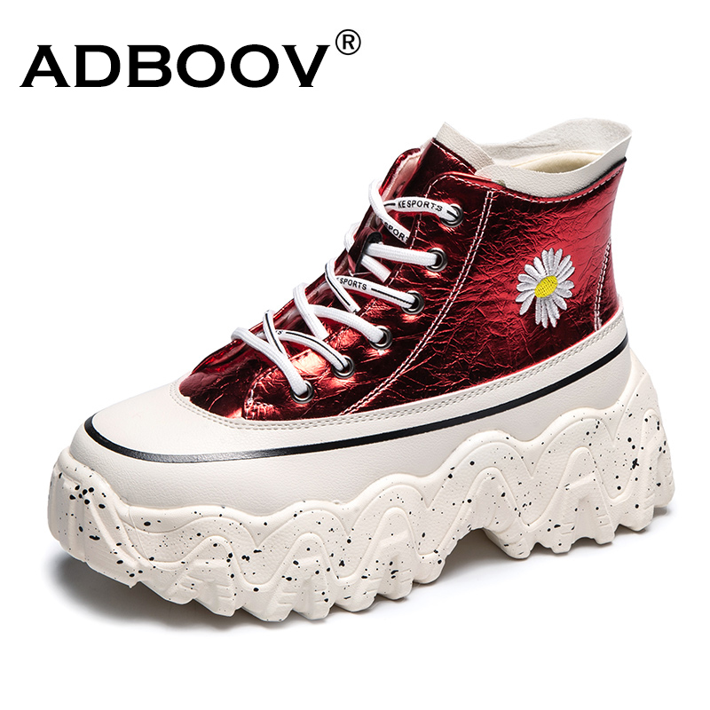 ADBOOV Flower Print High Top Sneakers Women Cracked Leather Platform Shoes Ladies Height Increasing Ankle Boots